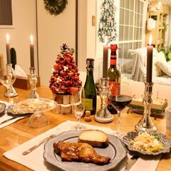 キャンドル/夕食/ディナー/テーブルコーディネート/クリスマス2019 クリスマスディナー🍽🎄