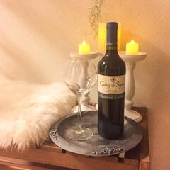 ペイント/アイアンペイント/ワイングラス/ワイン/キャンドルホルダー/モロッコ風/... ニトリのガーデンベンチと、キャンドルホル…