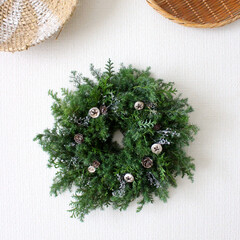 クリスマスリース/リース/クリスマス2019/リミアの冬暮らし/DIY/雑貨/... 直径約28cmのフレッシュリース。(1枚目)