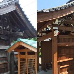 塗装/塗替え/木部/お寺 お寺の門塗替え塗装工事、施工前と施工後