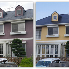 屋根塗装/外壁塗装/塗り替え塗装工事/施工前/施工後 外壁、屋根塗替え塗装工事の施工前と施工完成(1枚目)