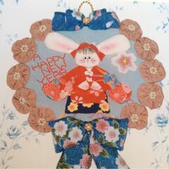 お正月/壁飾り/ニューイヤー/ハンドメイド/手作り/オリジナル/... ハピ♡ハピ♡ニューイヤー♡ うさぎの〜ち…