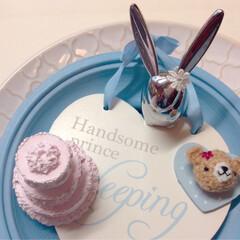 ハンドメイド/アロマストーン/うさぎ/雑貨/クリスマス/フォト/... ピンク&ブルー♡クリスマス♡