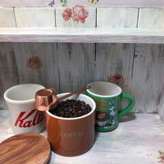 キッチン/コーヒー/キャニスター/マグカップ/おうちカフェ/珈琲/... 木製の棚にシャビーシック風にアクリル絵具…