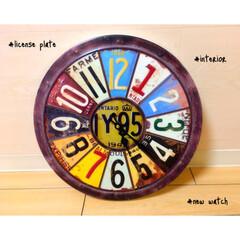 ナンバープレート/ブリキ/インテリア雑貨/雑貨/インテリア 新しい時計