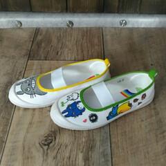 幼稚園/上履きデコ/トトロ/ハンドメイド/子供/保育園 明日から三女の幼稚園が始まるので、上履き…(3枚目)