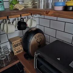 リメイクシール/キッチン/ダイソー/DIY ネスカフェ バリスタ プチリメイク☕ 赤…(1枚目)