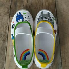 幼稚園/上履きデコ/トトロ/ハンドメイド/子供/保育園 明日から三女の幼稚園が始まるので、上履き…