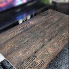 塗装/ダイニング/昇降テーブル/カフェ/テーブル/ステンシル/... 最近お気に入りのカフェ床材で デーブルリ…