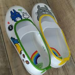 幼稚園/上履きデコ/トトロ/ハンドメイド/子供/保育園 明日から三女の幼稚園が始まるので、上履き…(5枚目)