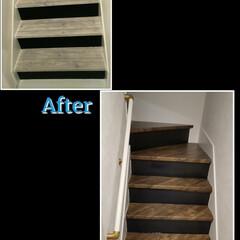 DIY/イメチェン/はがせる壁紙/リメイクシート/ウッド柄/クッションフロア 階段にリメイクシート(はがせる壁紙)を貼…
