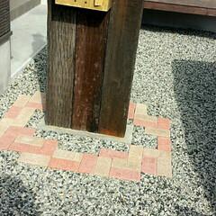 タイル敷き/門柱/DIY/住まい/玄関/ハンドメイド