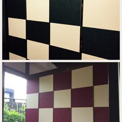 松岡表具店/ふすまっくす/建具新調/可動パネル/市松 間仕切可動パネル作製実例  一面の壁に市…