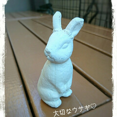 Before/After/鳥のカゴ/ペイント/置物/ウサギ 秋晴れが続く午後お気に入りのウサギの小さ…