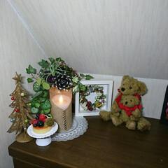 夜な夜な/飾り付け/プリザ/クリスマス 🎄クリスマス飾り 配置やっと出来ました^…(4枚目)
