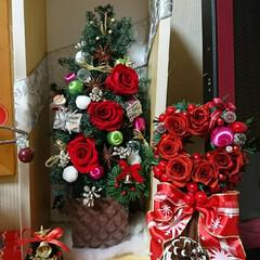夜な夜な/飾り付け/プリザ/クリスマス 🎄クリスマス飾り 配置やっと出来ました^…(7枚目)