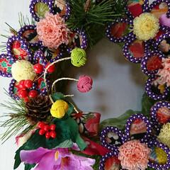 お正月/飾り/プリザブドフラワー/プリザ/クイリング 今日から旦那さんがお休みで用事を済ませて…