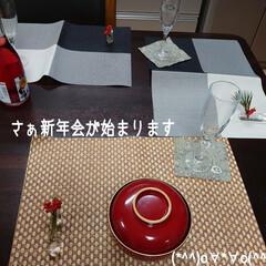 新年会/おせち料理/お土産/猫/チコちゃん/お正月2020 今日はプリザのお教室先生宅にて🎍新年会に…