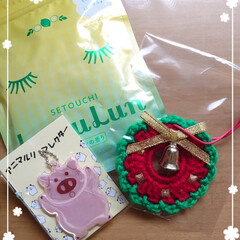 贈り物/リミ友/リース/飾り/クリスマス/千両 我が家にも一足早くxmas🎅🎁届きました…
