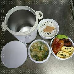 ランタスBS保温ランチ HLB―B700 ホワイト | アスベル(保温弁当箱)を使ったクチコミ「旦那さんのお弁当 寒さも本番に! 先日見…」