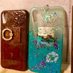 携帯カバー/雑貨/100均/セリア/ダイソー/ハンドメイド レジン活用&夏バージョン携帯カバー  左…