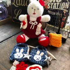 春/編みぐるみ/編み物/ハンドメイド/雑貨/わたしの手作り 今日はうさ美ちゃんの入学準備してました😊…
