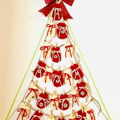 編み物/アドベントカレンダーハンドメイド/ハンドメイド/雑貨/クリスマス/クリスマスツリー 今年はアドベントカレンダー買わなかったん…