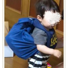 一升餅/お盆/初誕生/ファッション/おでかけ 孫、一升餅を背負って😊 明日1歳を迎える…