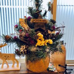 リース/オーナメント/松ぼっくり/クリスマス2019/リミアの冬暮らし/雑貨/... やっと放置してた🎄飾り付けしました☺️ …(2枚目)