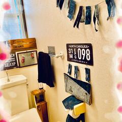 リメイク/デニム/雑貨/ハンドメイド/掃除/暮らし トイレをプチ模様替え☝️ 壁に貼ってたリ…
