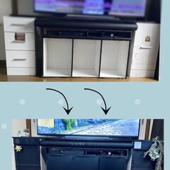 テレビ台diy/リビング/DIY/モノトーン/フェイクグリーン 写真はBefore Afterではありま…(1枚目)
