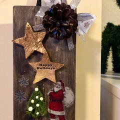 インテリア/雑貨/DIY/ハンドメイド/クリスマス/住まい 壁掛けタイプの飾りです😊 転写シールがち…