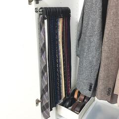 ネクタイフック/ネクタイ 収納/クローゼット/DIY/住まい/収納 クローゼット壁面DIY♡ネクタイ収納  …