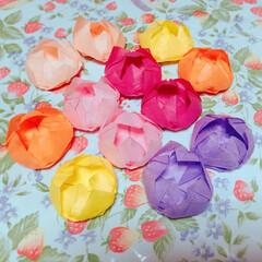 創作すき紙/蓮の花/おりがみ/ハンドメイド/100均/ダイソー 蓮の花をおりがみでつくりました❤️ ご先…