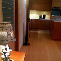 ダイニングキッチン/リフォーム/造付け家具/断熱施工/結露対策 テレビボードに置かれた陶器のランプシェー…
