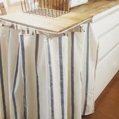 DIY/カーテン キッチンカウンターに折り畳める台を付けて…