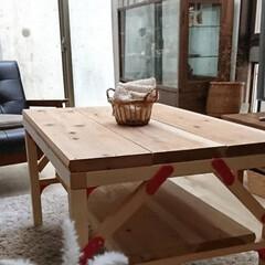 こどもとの時間/おうち/日々のこと/テーブルDIY/DIY家具/インテリア/... 楽しくdiyブロックを使い、カフェ板で、…(5枚目)