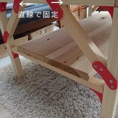 こどもとの時間/おうち/日々のこと/テーブルDIY/DIY家具/インテリア/... 楽しくdiyブロックを使い、カフェ板で、…(4枚目)