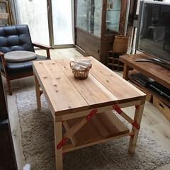 こどもとの時間/おうち/日々のこと/テーブルDIY/DIY家具/インテリア/... 楽しくdiyブロックを使い、カフェ板で、…