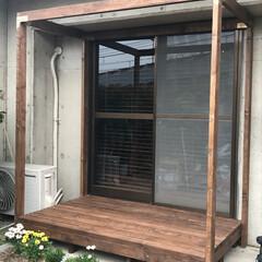 ウッドデッキ/DIY/家具/庭/ガーデン/ハンドメイド/... 自作ウッドデッキ。 2×4材とシンプソン…
