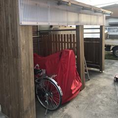雪国/鉄管パイプ/自転車置き場/除雪機置き場/DIY コツコツと作って来た自転車と除雪機置き場…