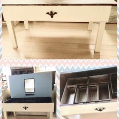 ドレッサーテーブル/娘のドレッサーテーブルDIY/DIY/インテリア/家具/収納/... 昨日、ガッツリ頑張って作っていたドレッサ…