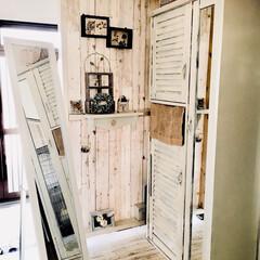 ディアウォール/DIY/雑貨/100均/家具/住まい/... 我が家の玄関の一角。 お出かけ時にはここ…