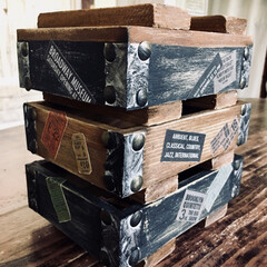 木箱リメイク/ウッドボックス/ミニミニ弾薬箱/男前インテリア/なんちゃって弾薬箱DIY/インテリア/... 先日作った物のミニミニバージョンが欲しく…(2枚目)