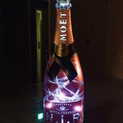 モエシャン/モエ/ボトルリメイク/ボトルライト/シャンパンボトル/リミアな暮らし 飲み終えたシャンパンボトルをボトルライト…
