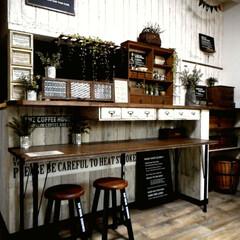 カフェ風/カフェ風インテリア/DIY/ハンドメイド/手作り/コンテスト 最近、作業台をDIYし、 少しカフェっぽ…