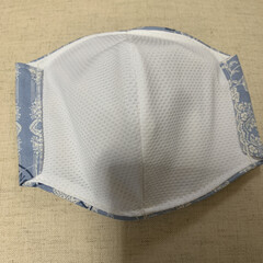 マスク手作り/マスク不足/いいねありがとうございます/節約 4時から、接触冷感生地を裏地にしてマスク…