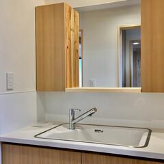 造り付け洗面化粧台/キッチンシンク/珪藻土/パインフローリング キッチンシンクと引き出し式シャワー水栓金…