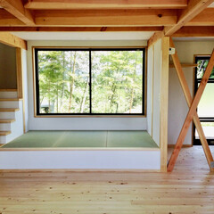 自然素材の家/ソーラーシステム/吹き抜け/キャットウォーク/シューズクローゼット/ウォークインクローゼット/... リビングに畳コーナーがあるソーラーシステ…