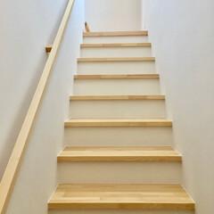 階段/階段室/リビング階段/勾配が緩い階段/昇降しやすい階段/無垢手すり/... 勾配が緩く小さいお子さんや高齢者でも昇降…